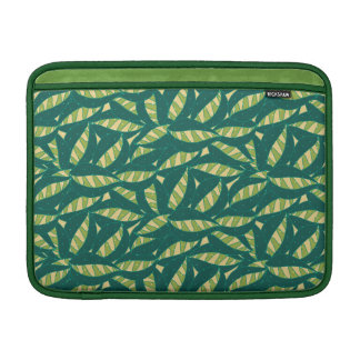 Green Abstract Leaves Pattern Laptop Sleeve