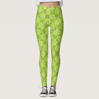 green abstract legging