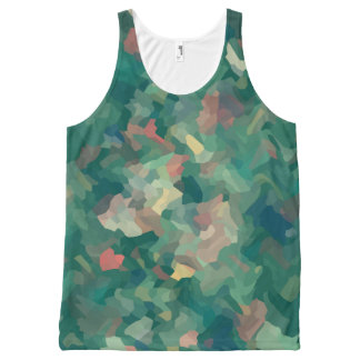 Green Abstract Moss All-Over Print Singlet