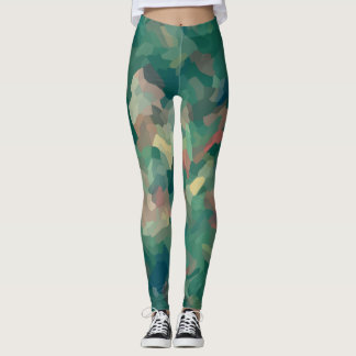 Green Abstract Moss Leggings