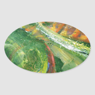 Green abstract oval sticker