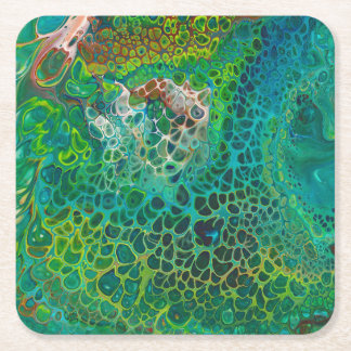 Green abstract paint pour square paper coaster