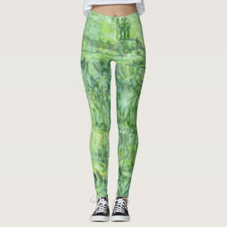green abstract pattern leggings
