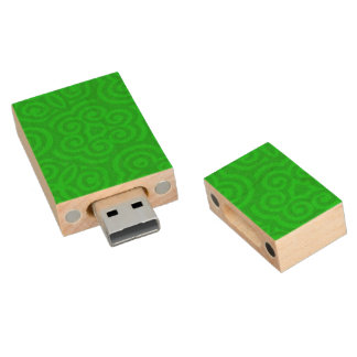 Green Abstract Pattern Wood USB 2.0 Flash Drive