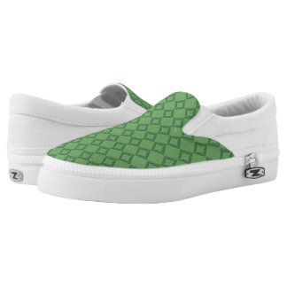 Green Abstract Print Slip On Shoes