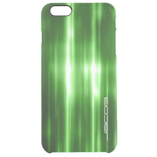 green abstract shiny lights personalized by name