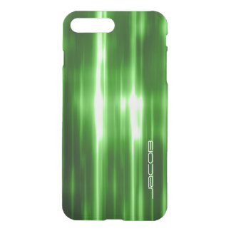 green abstract shiny lights personalized by name iPhone 7 plus case