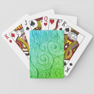 Green Abstract Spiral Poker Deck