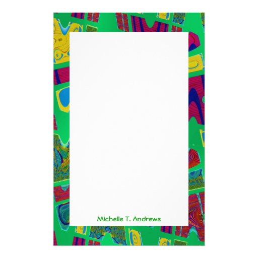 green abstract customized stationery