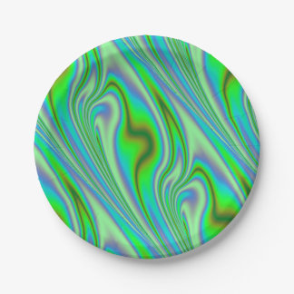 Green Abstract Swirl Paper Plate