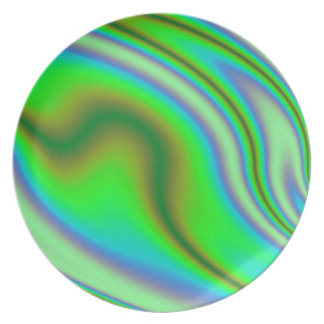 Green Abstract Swirl Plate