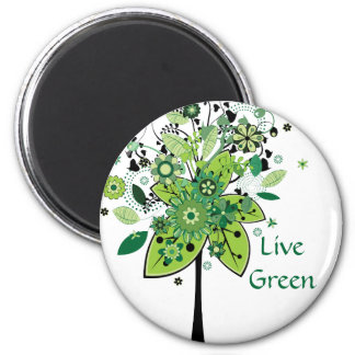 Green Abstract Tree Magnet