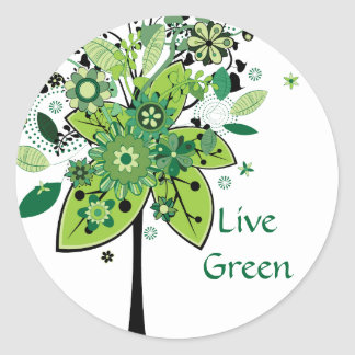 Green Abstract Tree Round Sticker