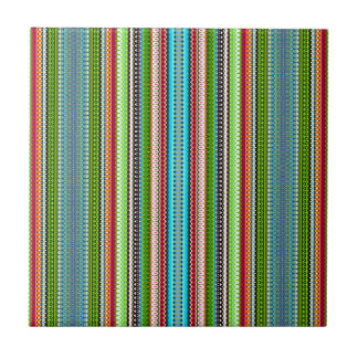 Green Abstract Tribal Chevron Small Square Tile