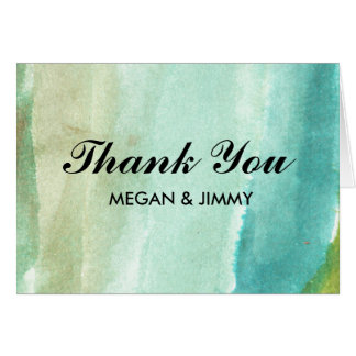 green abstract watercolor Thank You card