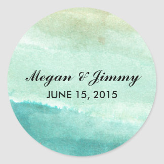 green abstract watercolor wedding stickers