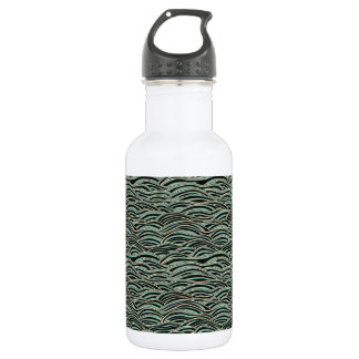 Green abstract waves pattern. Sea texture. 532 Ml Water Bottle