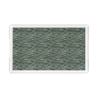 Green abstract waves pattern. Sea texture. Acrylic Tray