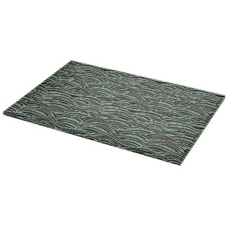 Green abstract waves pattern. Sea texture. Cutting Board