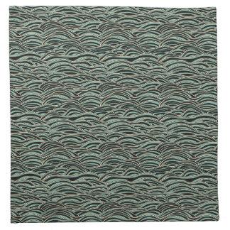 Green abstract waves pattern. Sea texture. Napkin