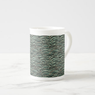 Green abstract waves pattern. Sea texture. Tea Cup