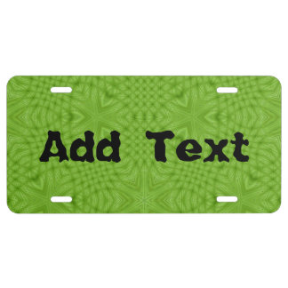 Green abstract wood license plate