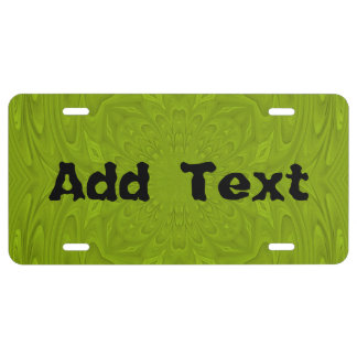 Green abstract wood pattern license plate