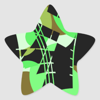 Green abstraction star sticker