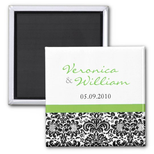 Green Accent Damask Save The Date Magnet