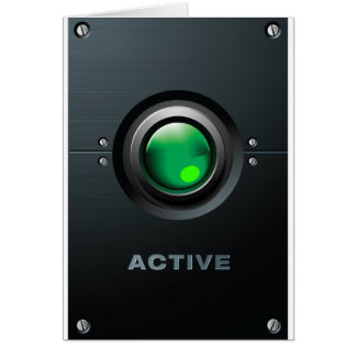 Green Active Button Greeting Cards