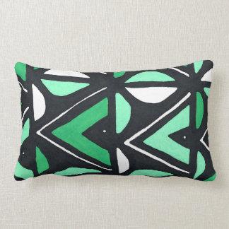 Green African Mudcloth Tribal Print Lumbar Cushion
