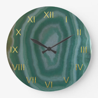 Green Agate Clock with Faux Gold Foil Numbers