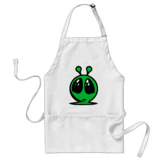 green alian big eyes. standard apron