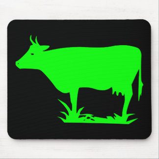 Green Alien Cow Mouse Pad
