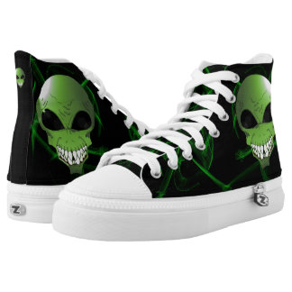 Green alien Custom Zipz High Top Shoes