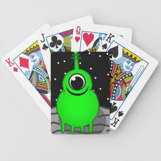 Green Alien Drawing Bicycle Playing Cards