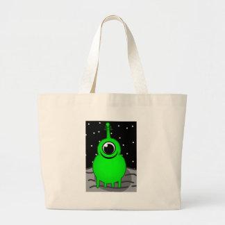 Green Alien Drawing Large Tote Bag