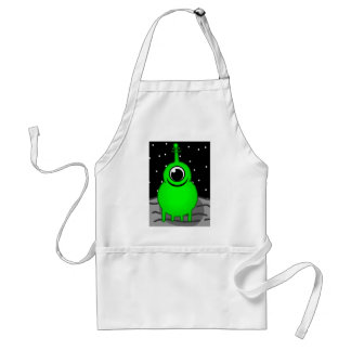 Green Alien Drawing Standard Apron