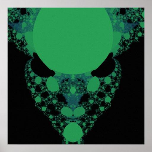 Green Alien Face Fractal Poster