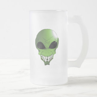 Green Alien Frosted 16 oz Frosted Glass Mug