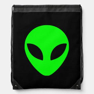 Green Alien Head Drawstring Bags