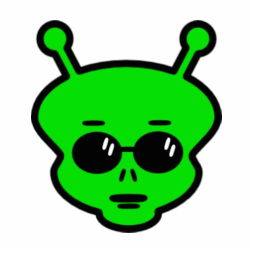 Green Alien with sunglasses Refrigerator Magnet Cut Outs