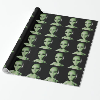 Green Alien Wrapping Paper