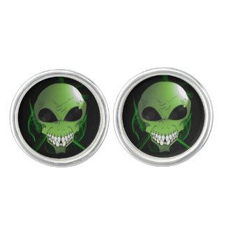 Green aliens Round Cufflinks, Silver Plated Cufflinks