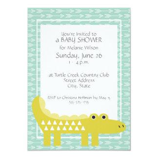 Green Alligator Baby Boy Shower Invitations