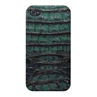 Green Alligator Skin 4b iPhone 4 Case