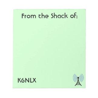 Green Amateur Radio Call Sign Notepad