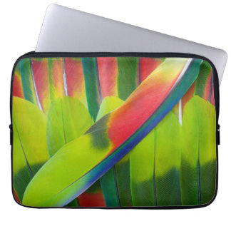 Green amazon parrot feathers laptop sleeve