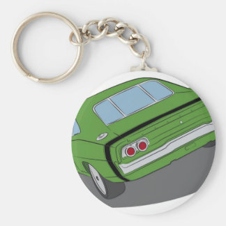 Green american muscle car keychains