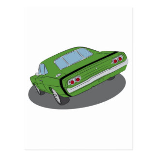 Green american muscle car postcard